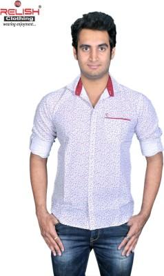 Relish Men's Printed Casual White Shirt