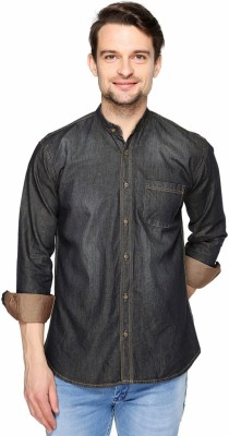 Fasnoya Brukers Men's Solid Casual Denim Black, Gold Shirt