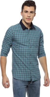 Derby Jeans Community Men's Checkered Casual Green Shirt