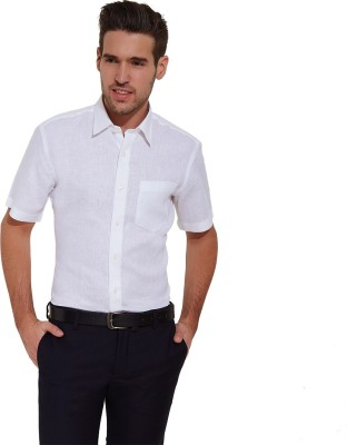 Urban Nomad By INMARK Men's Solid Formal Linen White Shirt