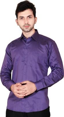 Fabrobe Men's Self Design Formal Purple Shirt