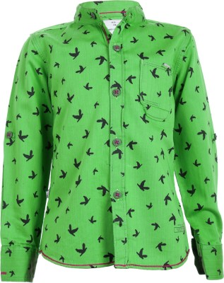 Ice Boys Boy's Printed Casual Green Shirt