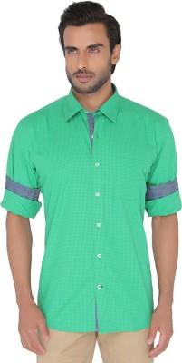 Jadeblue Men's Checkered Casual Green Shirt
