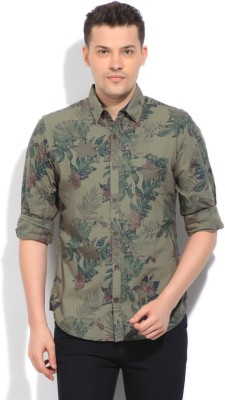 United Colors of Benetton Men's Printed Casual Green Shirt