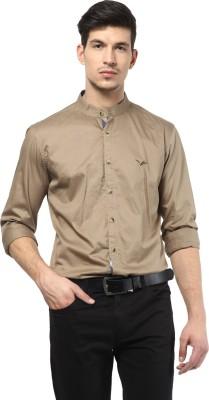 Velloche Men's Solid Casual, Festive Beige Shirt