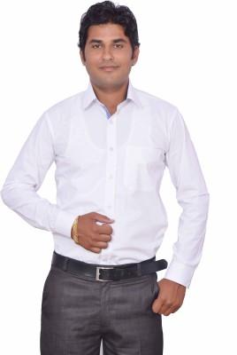 LEAF Men's Solid Formal White, Blue Shirt