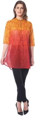 Florrie Fusion Women's Printed Casual Orange Shirt