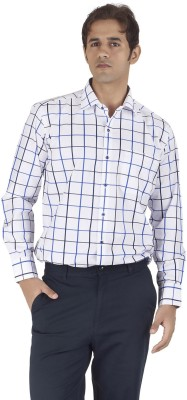 Silkina Men's Checkered Formal White, Blue Shirt