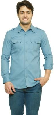 99 Hunts Men's Solid Casual Blue Shirt