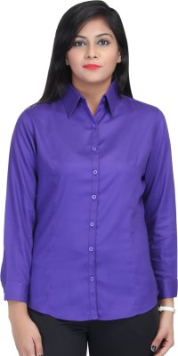 Estella Fashion Women's Solid Formal Blue Shirt