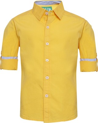 Slub Junior By Inmark Boy's Solid Casual Yellow Shirt