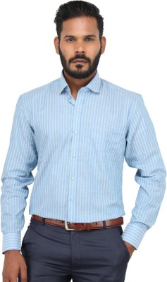 Metro Look Men's Striped Formal Light Blue Shirt