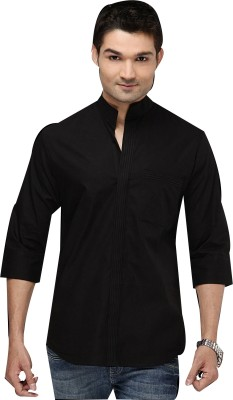 I Know Men's Solid Party Black Shirt