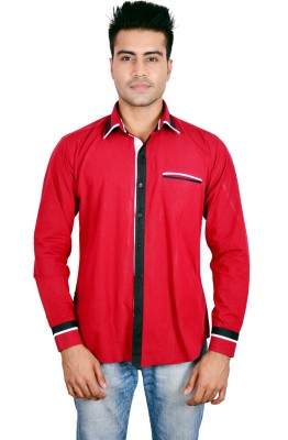 Timberlake Men's Solid Casual Red Shirt