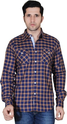 Denimize Men's Checkered Casual Dark Blue Shirt