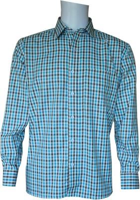 Ardeur Men's Checkered Formal White, Green, Brown Shirt