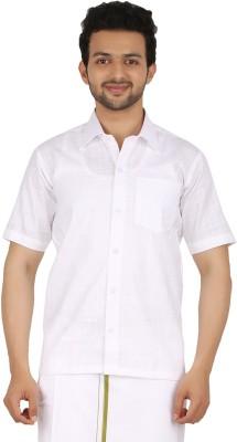 Prakasam Cotton Men's Self Design Casual, Festive, Formal, Party, Wedding White Shirt