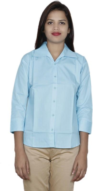 IndiWeaves Women's Solid Formal Blue Shirt