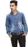 A Flash Men's Solid Casual Blue Shirt