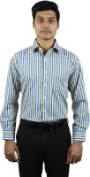 Right Trak Formal Shirts (Men's) - Right Trak Men's Striped Formal Beige, Blue Shirt