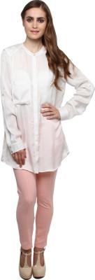 XnY Women's Solid Formal Beige Shirt
