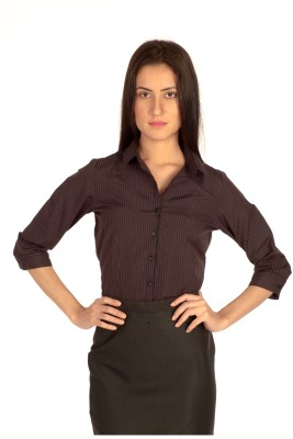 Bombay High Women's Striped Formal Black, Red Shirt