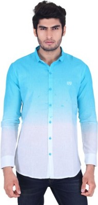 Fisheye Men's Printed Casual Linen Blue, White Shirt