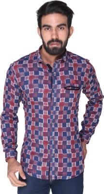 Royal Front Men's Printed Formal, Casual, Party, Festive, Wedding Dark Blue Shirt