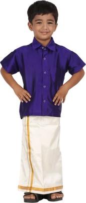 APR Brand Boy's Solid Wedding Purple Shirt
