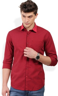 PAN VALLEY Men's Solid Casual Red Shirt