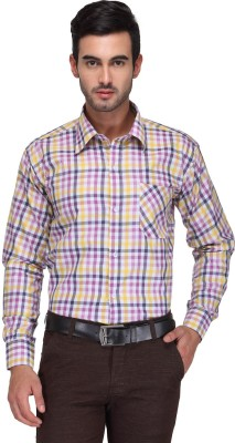 Ausy Men's Checkered Casual White, Pink Shirt