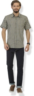 Grasim Men's Checkered Casual Green, Blue Shirt