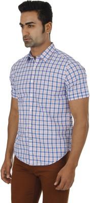 London Fog Men,s Checkered Casual Blue, Pink Shirt