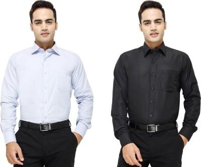 Yuva Men's Solid Formal Light Blue, Black Shirt