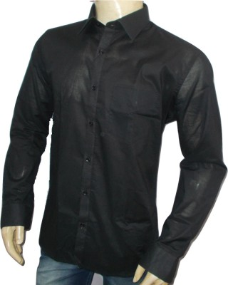 Impression Men's Solid Casual Black Shirt