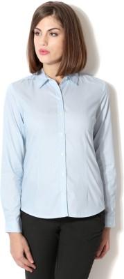 Van Heusen Women's Striped Formal Blue Shirt