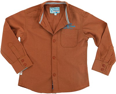 Biker Boys Boy's Solid Casual Brown Shirt