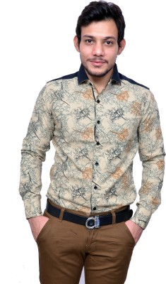Style In Men's Floral Print Casual Beige Shirt