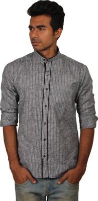 Brumax Men's Striped Casual Linen Grey, Black Shirt