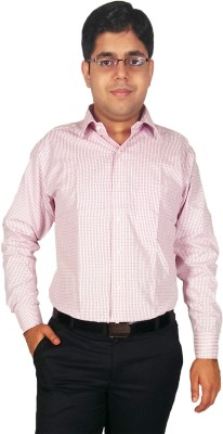 Kuons Avenue Men's Checkered Formal Pink Shirt