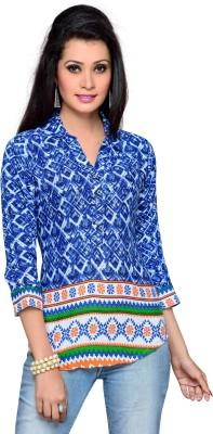 ALC Creations Women's Printed Casual Blue Shirt
