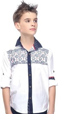 Mash Up Boy's Printed Casual White Shirt