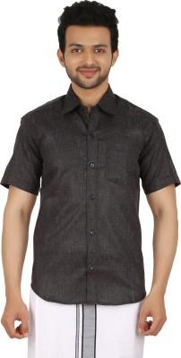 Prakasam Cotton Men's Self Design Casual, Festive, Formal, Party, Wedding Black Shirt