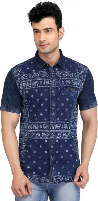 Glabrous Men,s Graphic Print Casual Blue Shirt