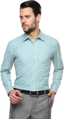 British Club Men's Striped Formal Green, Blue Shirt