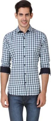 Smithsoul Men's Checkered Casual Light Green, Dark Blue Shirt