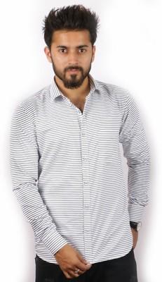 Indian Threads Men's Striped Formal Black, White Shirt