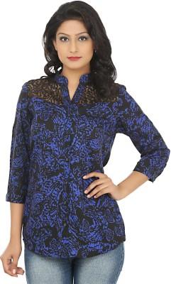 Adhaans Women,s Printed Casual Blue, Black Shirt