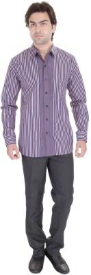 Janus Men's Striped Formal Purple Shirt