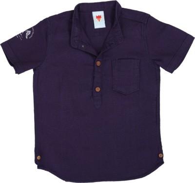 Ice Boys Boy's Solid Casual Purple Shirt